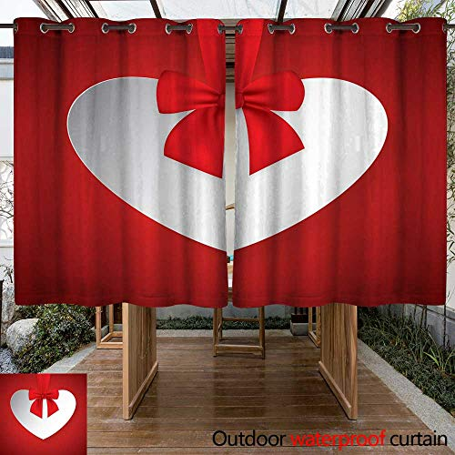 RenteriaDecor Outdoor Balcony Privacy Curtain Valentine Heart Tied with red Ribbon and Bow W96 x L72
