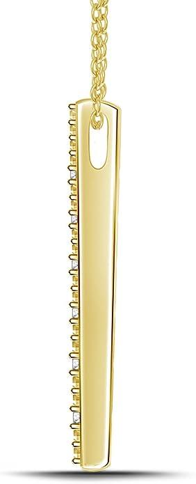 925 Silver Diamond Vertical Straight Bar Stick Pendant Necklace 18 0.03cttw, IJ//I2-I3