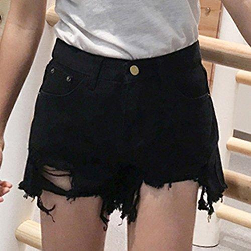 Vita Elasticizzati Pantaloncini Eleganti Shorts Alta Boyfriend Strappati Donna Nero Push Corti Up Jeans xvPYHqz