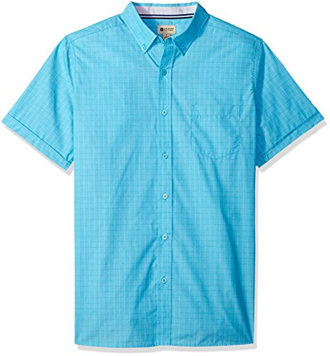 Haggar Men's Short Sleeve Shirt with Chambrey Trim, Teal Gel, ()