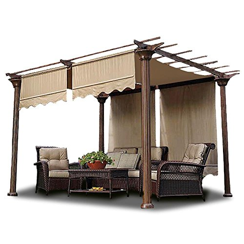 2pcs 15.5x4 Ft Pergola Shade Canopy Replacement Waterproof Polyester Cover Tan w/ Structure Valance Scalloped Edge for Outdoor Canopies Patio Lawn Yard Garden by Generic