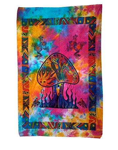 Shubhlaxmifashion Psychedelic Mushroom Tapestry Frogs Magic Shrooms Tapestry Dorm Tapestry Hippie Tapestry Wall Hanging Fantasy Bohemian Poster Trippy Animal Wall Art (Multi Tie Dye)