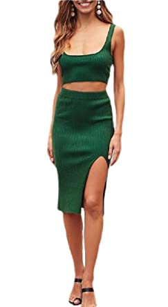 dahuo - Falda de Tirantes Sexy para Mujer (2 Piezas), Vestido Midi ...