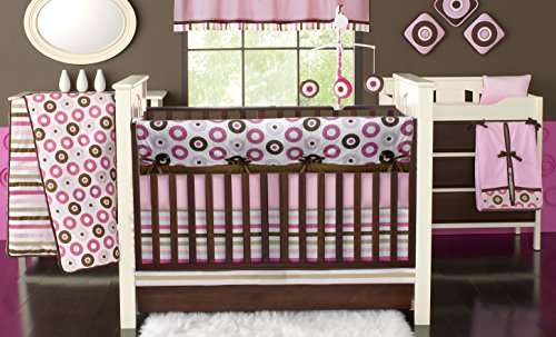 Bacati Mod Dots 10-Piece Nursery-in-A-Bag Crib Bedding Set for Girls with Long Rail Guard, Pink/Chocolate