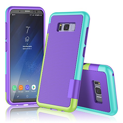 Galaxy S8 Plus Case, Samsung S8+ Case, TILL(TM) Ultra Slim 3 Color Hybrid Impact Anti-slip Shockproof Soft TPU Hard PC Bumper [Build In Card Slot] Wallet Case Cover For Galaxy S8+ 6.2 Inch [Purple]