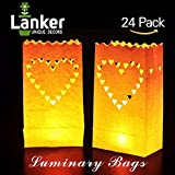 24 Pack Luminary Bags - Heart Design Candle Bags - Flame Resistant Light Holder - Candleholders Decorations for Wedding, Halloween, Birthday, New Year, Party and Event Occasion - White (Big Heart)