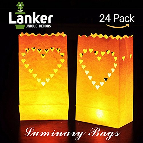 24-Pack-Luminary-Bags-Heart-Design-Candle-Bags-Flame-Resistant-Light-Holder-Candleholders-Decorations-for-Wedding-Halloween-Birthday-New-Year-Party-and-Event-Occasion-White-Big-Heart
