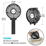 VersionTECH. Mini Handheld Fan, USB Desk Fan, Small Personal Portable Stroller Table Fan with USB Rechargeable Battery Operated Cooling Folding Electric Fan for Travel Office Room Household 9 【Hanging Umbrella Design】: Unique design style, you can hang the fan above your umbrella or parasol.The design is ideal for outdoor crowds, and you don't have to worry about the outdoors even when the temperature is so high, because this fan can cool you down,It's a must-have for the summer. 【Folding And Multipurpose Design】: This fan can fold up to 180°.You can use this fan: ①hold it on your hand, ②put it on the table, ③hang it on the sun umbrella, ④clip it on other objects; If you don't know how to use it, please look at the picture or contact us. If you find better uses, you can also tell us. 【ENERGY SOURCE】: This fan is a USB port rechargeable model. It can also be powered directly by batteries, but you must remove the insulation from the battery compartment, otherwise it will not be recharged or used.USB cable can be charged with computer, mobile power, power bank and so on.