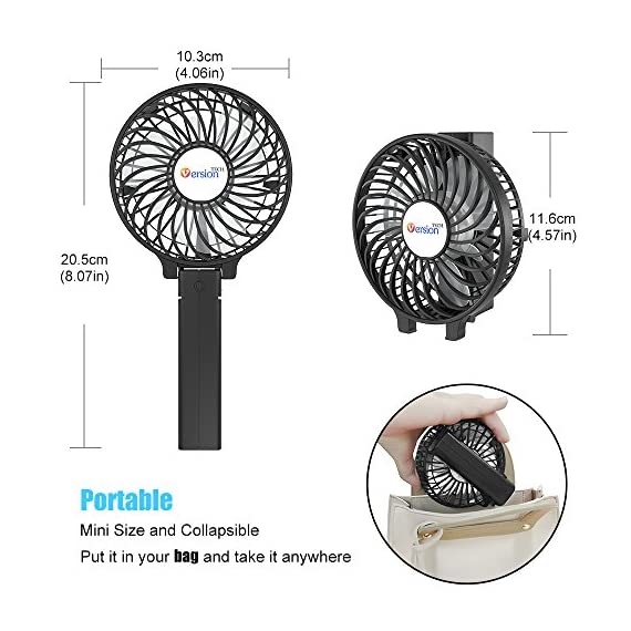 VersionTECH. Mini Handheld Fan, USB Desk Fan, Small Personal Portable Stroller Table Fan with USB Rechargeable Battery Operated Cooling Folding Electric Fan for Travel Office Room Household 3 【Hanging Umbrella Design】: Unique design style, you can hang the fan above your umbrella or parasol.The design is ideal for outdoor crowds, and you don't have to worry about the outdoors even when the temperature is so high, because this fan can cool you down,It's a must-have for the summer. 【Folding And Multipurpose Design】: This fan can fold up to 180°.You can use this fan: ①hold it on your hand, ②put it on the table, ③hang it on the sun umbrella, ④clip it on other objects; If you don't know how to use it, please look at the picture or contact us. If you find better uses, you can also tell us. 【ENERGY SOURCE】: This fan is a USB port rechargeable model. It can also be powered directly by batteries, but you must remove the insulation from the battery compartment, otherwise it will not be recharged or used.USB cable can be charged with computer, mobile power, power bank and so on.
