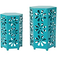 Girra Indoor 12 and 14 Inch Matte Teal Iron Floral Side Tables