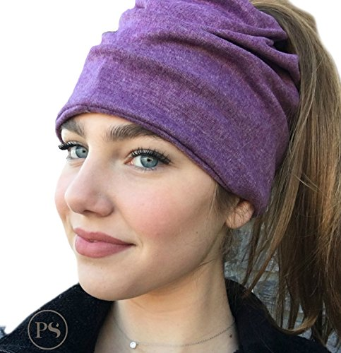Peek a Boo Women's Beanie Slouchy Beanie with Hole for Pony Tail or Sloppy Bun perfect for Work Out by Pretty Simple (Plum)