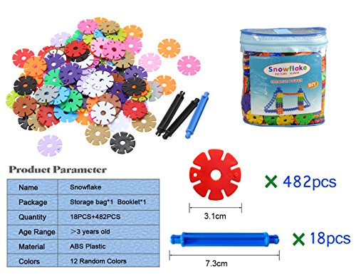 SUPRBIRD Snowflakes Gear Toys Brain Flakes | Building Block Educational Toy Interlocking Plastic Disc Set Multicolor Creative Building Blocks Puzzle Set - Best Gift for Boys and Girls (500 Pcs )
