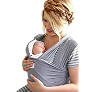 MoM-me Baby Wrap - Baby Carrier - 4 in 1 Multi-Use - Nursing Cover - Postpartum Belt - Baby Sling - Soft Infant Carrier - Perfect for Baby Showers - Neutral Grey for Girls and Boys