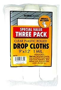 Premier Paint Roller 69730 Plastic Drop Cloth, 9-Feet by 12-Feet, 3-Pack
