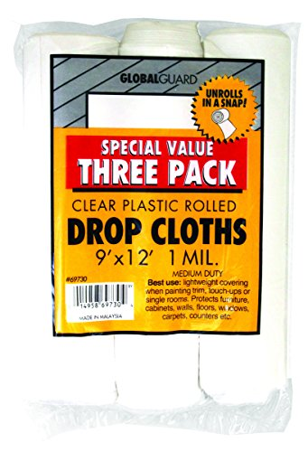 Poly Floor Paint (Premier 9' x 12' 1 MIL Clear Plastic Drop Cloth Rolled, 3 Pack, 69730)