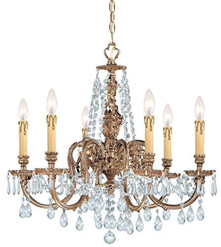 Olde Brass Baroque 6 Light Cast Brass Chandelier with Swarovski Strass Crystals