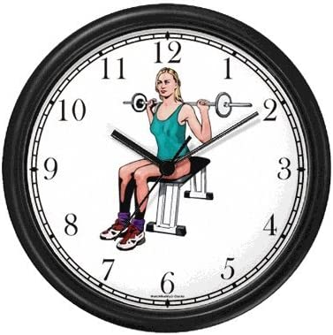 WatchBuddy Woman Weight Lifting with Barbell – Physical Fitness-Exercise-Body Building Wall Clock Timepieces Black Frame