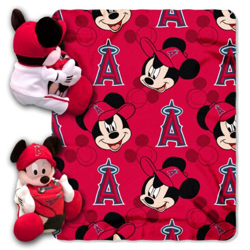 Officially Licensed MLB Los Angeles Angels Pitch Crazy Co-Branded Disney's Mickey Hugger and Fleece Throw Set - Mickey Mouse Baseball