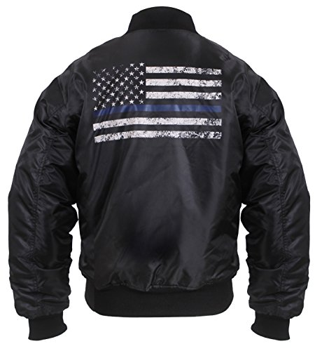 Rothco Thin Blue Line Flag MA-1 Flight Jacket, M ()