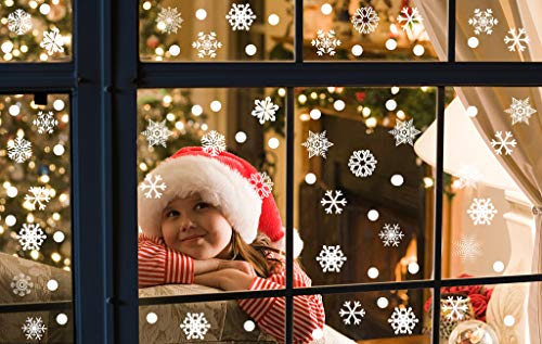 MGparty 340 PCS Christmas Window Clings Decals, Removable Snowflake Decal for Window Mirror Glass Door Car Body Holiday Xmas Decoration (Snowflake Stickers) ()