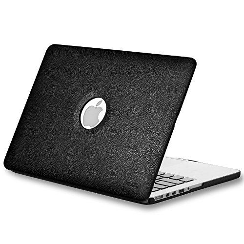 Kuzy - BLACK LEATHER Hard Case for Older MacBook Pro 13.3