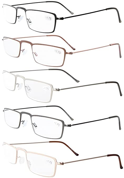 f14a97bac0 5-Pack Straight Thin Stamped Metal Frame Half-Eye Style Reading Glasses  Readers  Amazon.co.uk  Health   Personal Care