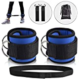 DOACT Padded Ankle Straps for Cable Machines and Resistance Bands, Double D-Ring Designed Adjustable Neoprene Ankle Cuffs for Hip Leg Strength Yoga Gym Speed and Agility Training for Women and Men