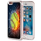 iphone 6 protective case softball - iPhone 6 Case,iPhone 6 Case,AIRWEE Clear Bumper Flaming softball Fire and Water Pattern Anti-Scratch Slim Soft TPU Back Protective Cover Case for Apple iPhone 6/6S 4.7