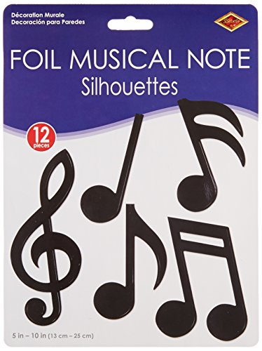 (Beistle 55881 12-Pack Foil Musical Note Silhouettes Party Decorations, 5-Inch-10-Inch)