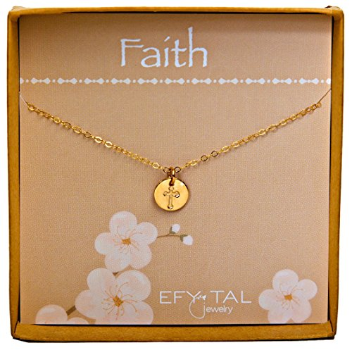 Tiny Gold Filled Faith Cross Necklace, Small Simple Dainty Disc Pendant, First Communion Gift for Girls and Women (Charm Petite Necklace)