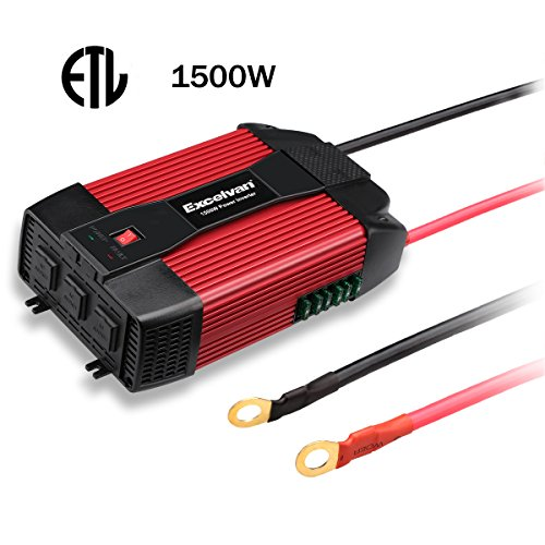 Excelvan 1500W Power Inverter 12V DC to 110V AC Converter with 3 AC Outlet and Dual 0.5A USB Port