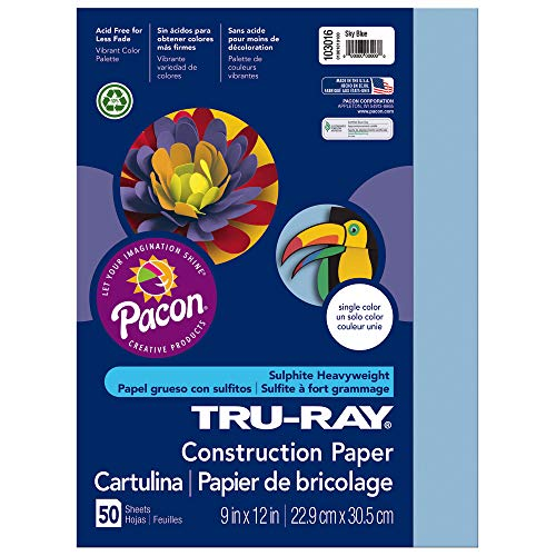 Tru-Ray Heavyweight Construction Paper, Sky Blue,  9