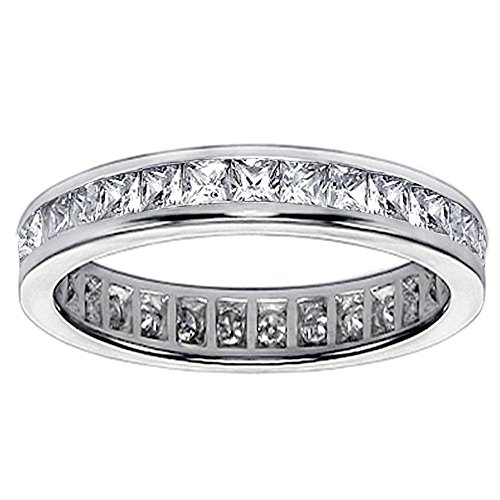 VIP Jewelry Art 1.75 CT TW Princess Cut Diamond Eternity Anniversary Wedding Band in 14K White Gold - Size 6.5 (Band Set Diamond Princess Eternity)