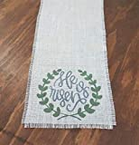 """He Is Risen Table Runner, Rustic Easter Table Decorations, Farmhouse Spring Table Runner, 32, 48, 54, 60, 72 inch, 84"""", 90, 108, 120 inches, 132, 144, 160 inches Christian Religious Table Runner"""