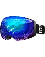 ALLROS Ski Goggles, Frameless OTG Skiing Goggles with Anti-Fog 100% UV Protection, Interchangeable Dual Lens Snow Goggles for Skiing Helmet Compatible