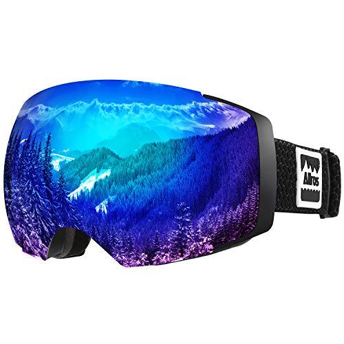 ALLROS Masque de Ski Lunettes de Snowboard OTG Anti-buée Anti-UV Lunettes de Protection Coupe-Vent à Double lentille Casque pour Homme et Femme