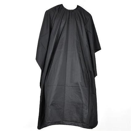 Bata negra de peluquería para corte de pelo; capa de barbero; cobertor