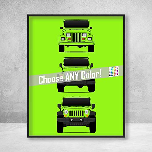 Jeep Wrangler Poster Print Wall Art of the History and Evolution of the Wrangler Generations (Car Models: YJ, TJ, JK)