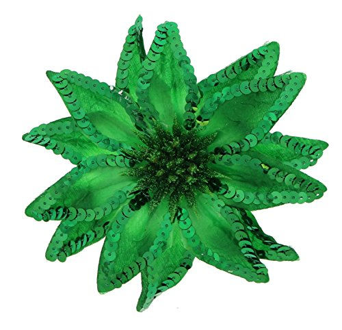 Sequin Flowers Brooch (Women's Christmas Pointsettia Sequin Flower Pin, Clip, Hair Tie (Christmas Green))