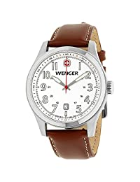 Victorinox Swiss Army - Terragraph Large Metallic White Dial Brown Leather Strap