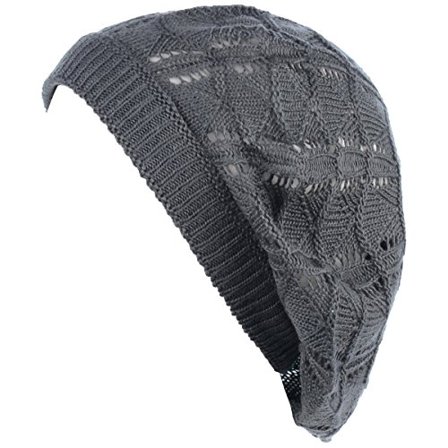 (BYOS Chic Parisian Style Soft Lightweight Crochet Cutout Knit Beret Beanie Hat (Wavy Stripes Charcoal Gray))