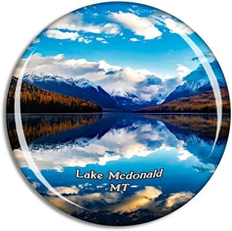 マクドナルド湖モンタナモンタナ米国冷蔵庫マグネット3Dクリスタルガラス観光都市旅行お土産コレクションギフト強い冷蔵庫ステッカー
