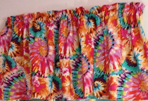- New Window Curtain UNLINED Valance made from Retro Red Orange Blue Cotton Tie Dye fabric
