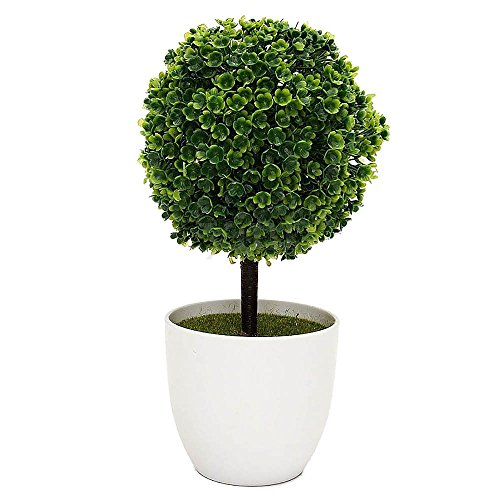 New-Hi Mini Colorful Artificial Plastic Ball Topiary Tree Faux Tabletop Topiary Trees with White Planter Pots Home Decor Ornament Potted-Green