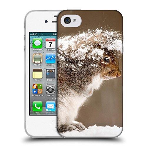 Just Phone Cases Coque de Protection TPU Silicone Case pour // V00004160 écureuil cache chute de neige // Apple iPhone 4 4S 4G