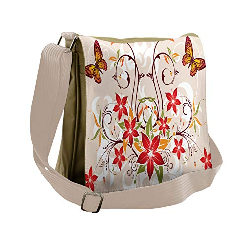 Ambesonne Floral Messenger Bag, Blossoms Bouquet Botany, Unisex Cross-body