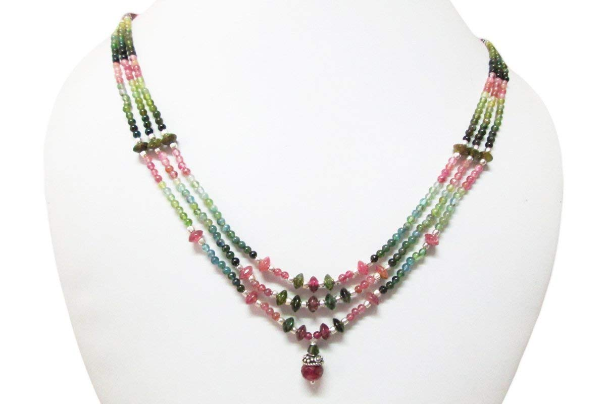 1e59a197c3e9b Watermelon Multi Strand Tourmaline Handmade Beaded Necklace with Sterling  Silver Findings 16
