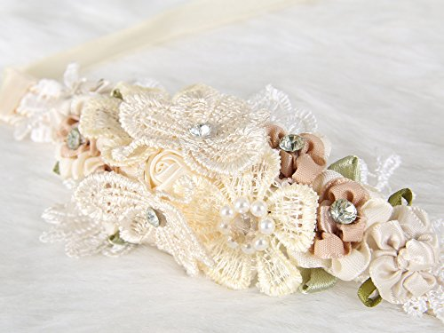 Floral Wrist Corsage butterfly lace Wedding Bridal Bridesmaids (Beige) - Wedding Wrist Corsage