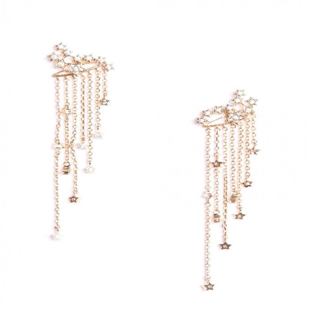 Shooting Star Rhinestone Long Tassels Drop Hook Dangle Earrings Gold Silver alloy) XHQ XHQ180718