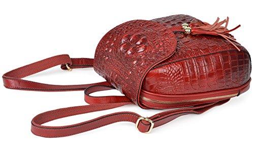 PIFUREN Bolso mochila de Otra Piel para mujer Red